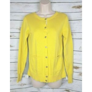 CAbi Belle Yellow Sweater Cardigan Layered Lace